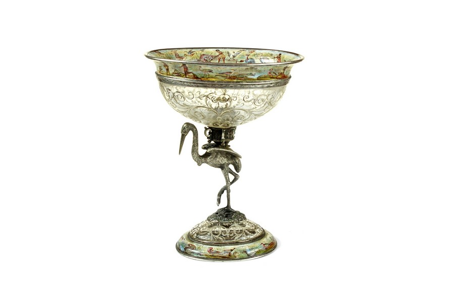 A 19th Century Viennese Rock Crystal, Enamel & Silver Tazza
