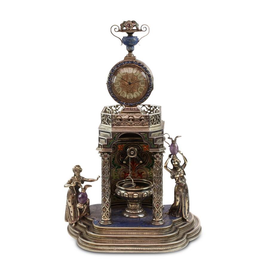 Vienna Silver and Lapis Clock