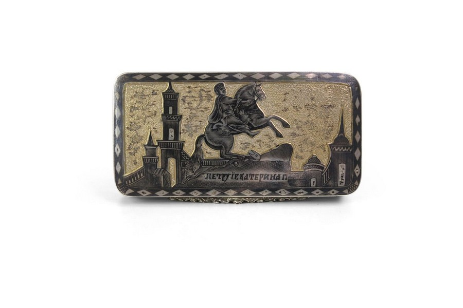 A Russian Parcel Gilt-Silver and Niello Snuff Box
