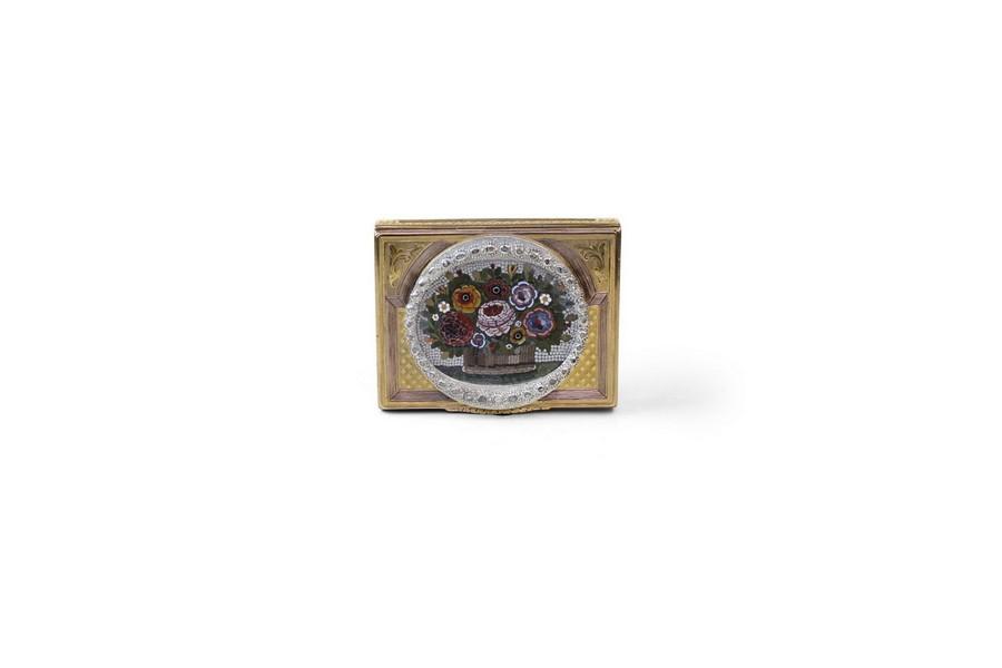Diamond Set Micro Mosaic and Gold Snuff Box