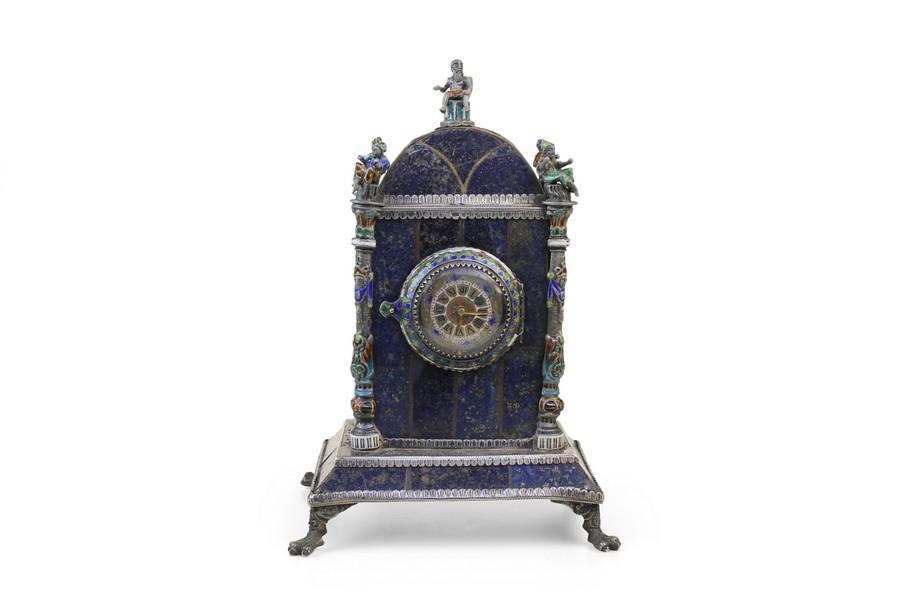 Viennese Silver Gilt and Enamel Lapis Clock