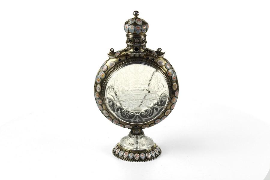 Viennese Silver Gilt Rock Crystal Pilgrim Flask