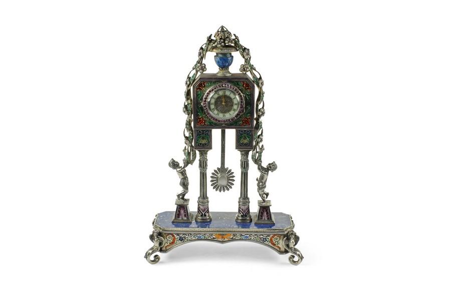 A Viennese Gem Set Mantle Clock