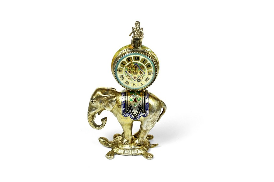A miniature Viennese silver gilt Elephant clock