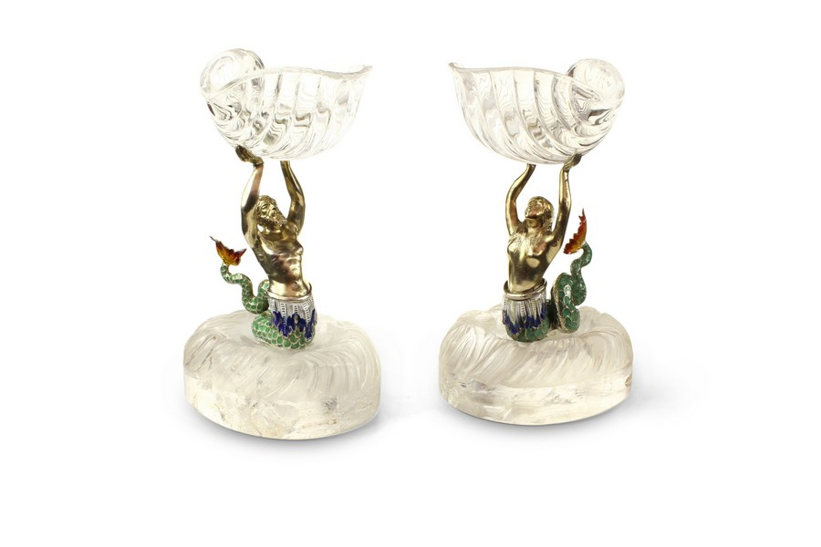 A pair of Viennese enamel  rock crystal Mermaids