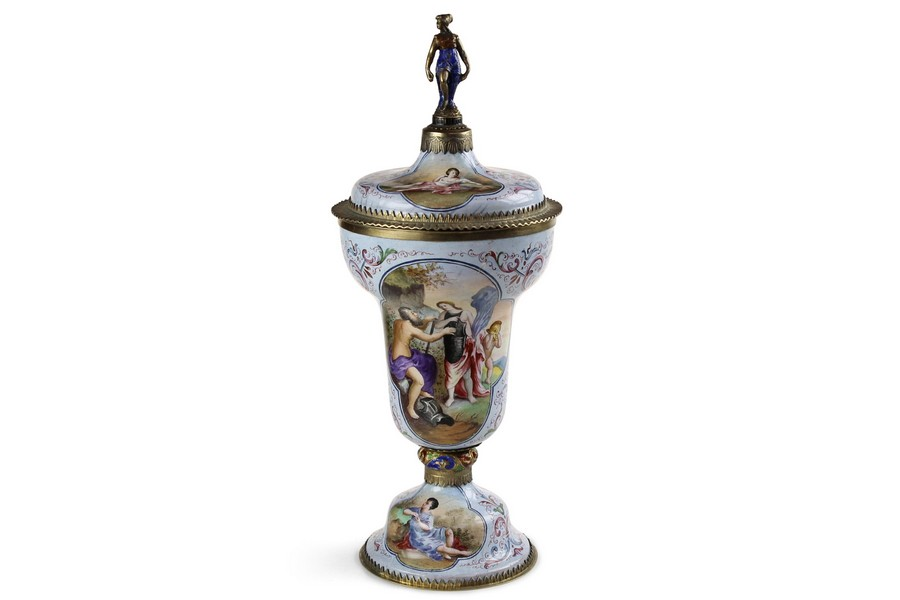 A Viennese enamel cup and cover