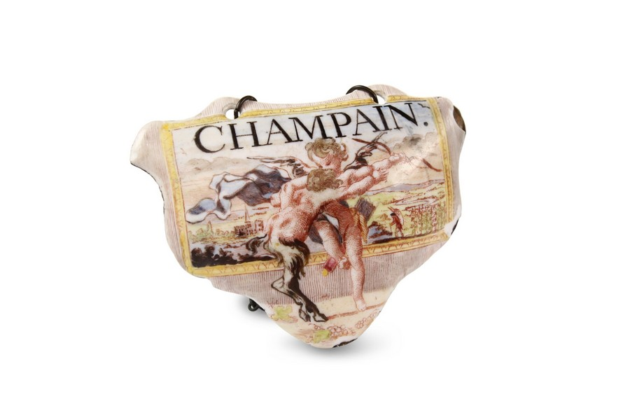 "Battersea enamel ""Champain"" Bottle Ticket"