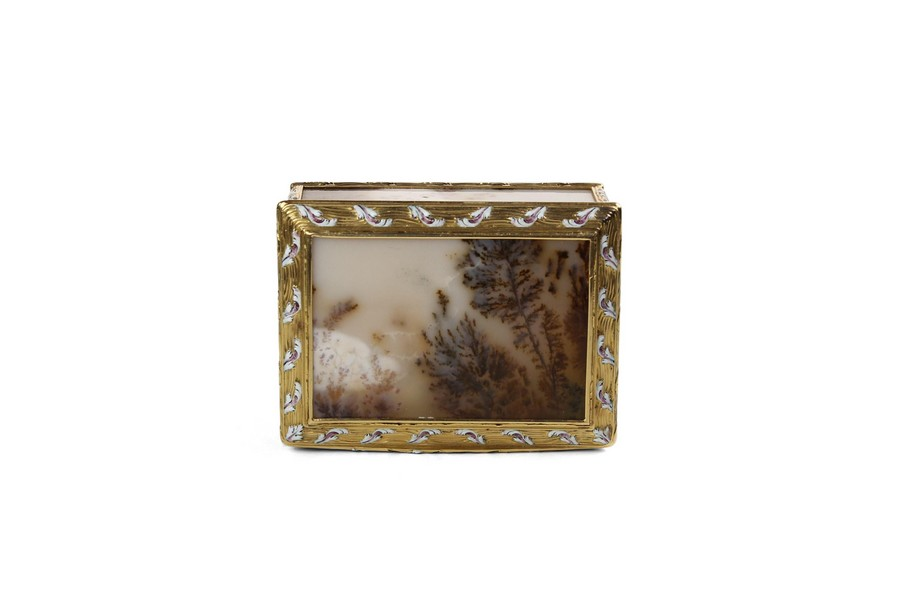 A Louis XV  Agate Snuff Box with enamel mounts