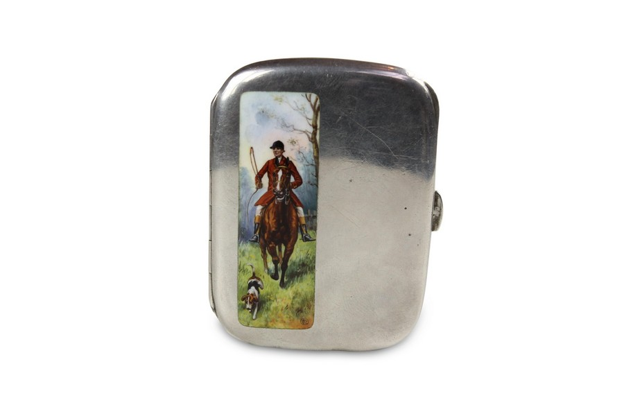 An English silver & enamel cigarette case