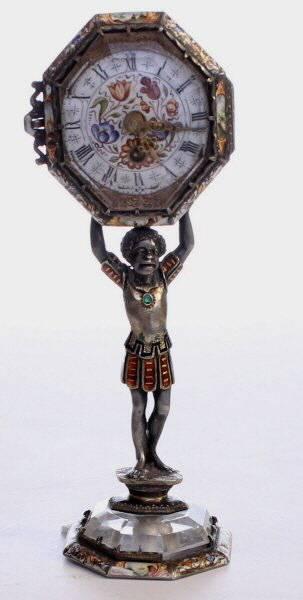 An Austrian Silver & Rock crystal clock