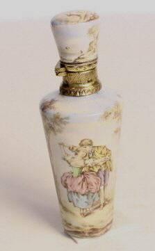 A Silver & enamel scent bottle