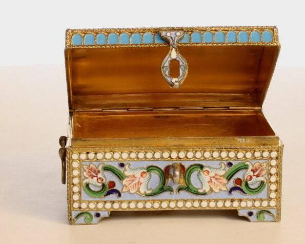 A Silver & enamel casket