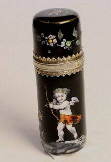 French silver and enamel perfume bottle