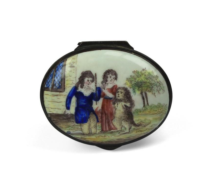 An English Bilston Enamel Patch Box with an original inside mirror