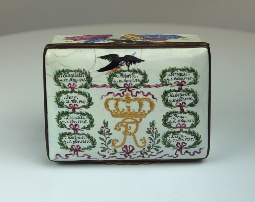 A German Enamel Fredrick The Great Battle snuff box depicting the Prussian War