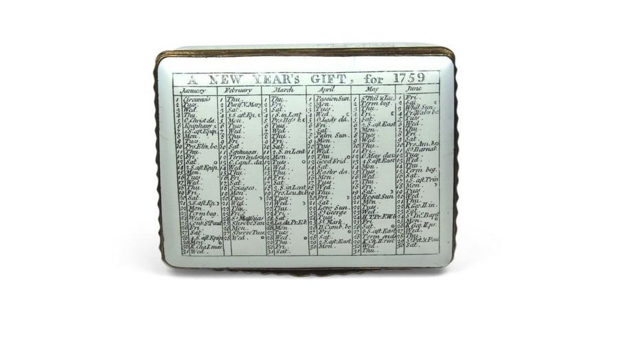 A Battersea calendar box for 1759