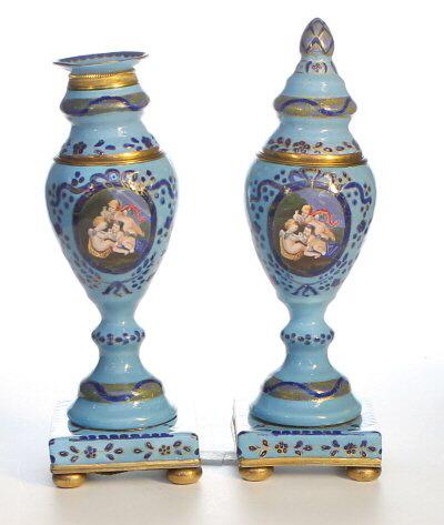 A rare pair of Bilston enamel Cassalets. Enamel