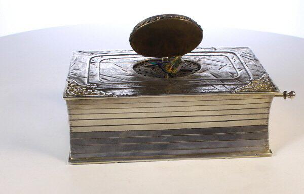 A silver and silver gilt  singing bird box
