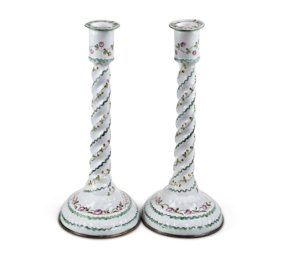 Pair Of Rare Bilston Enamel  Candlesticks
