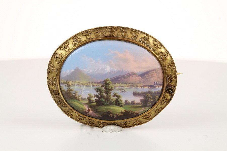 A Fine Swiss Enamel Brooch