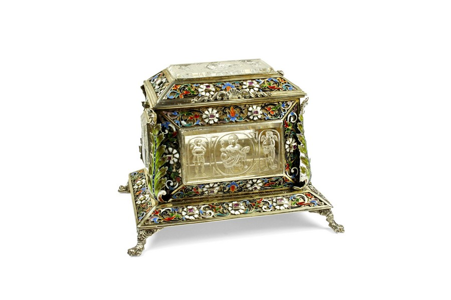 Fine gem set enamel and rock crystal casket by Rudolf Linky