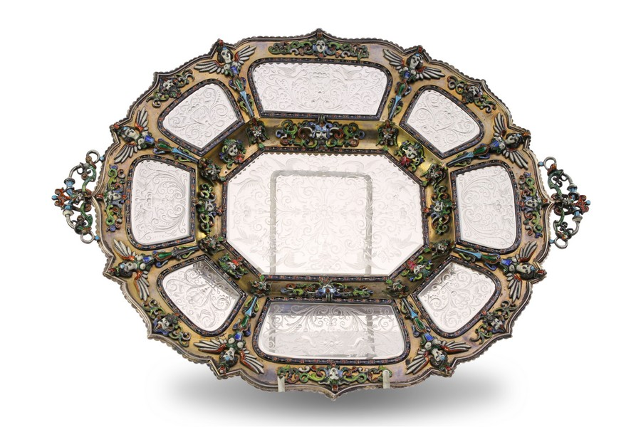 Viennese Rock Crystal Silver and Enamel Tray