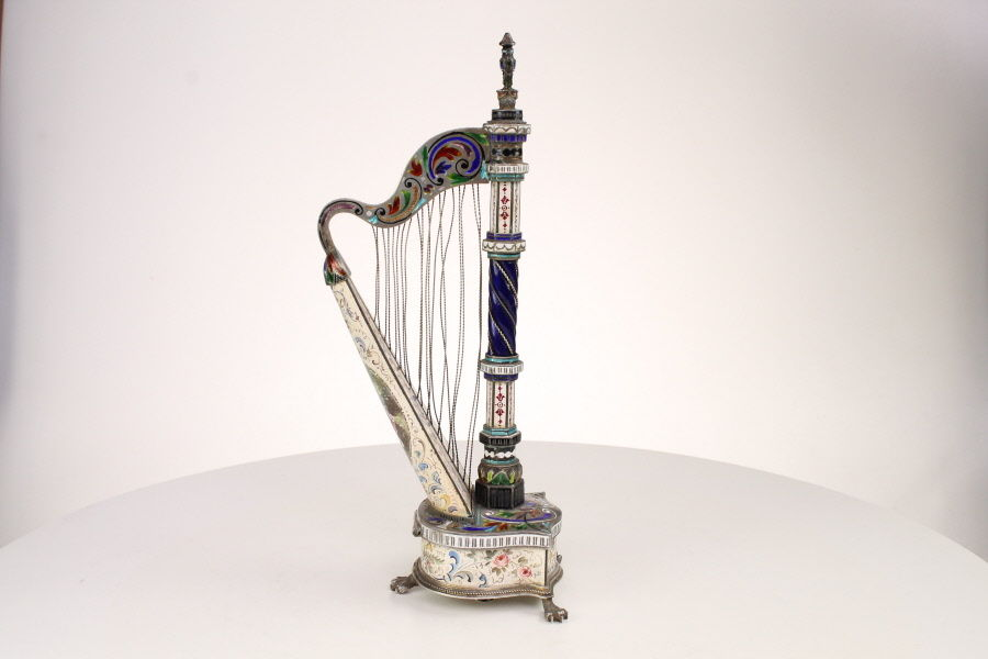 Fine Viennese Silver and enamel Harp Clock Marks HB for Hermann Bohm and A for Austria