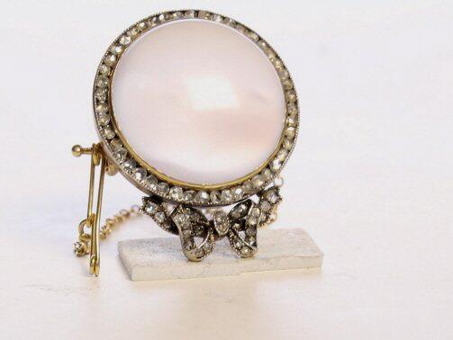Faberge Moonstone and Diamond Brooch