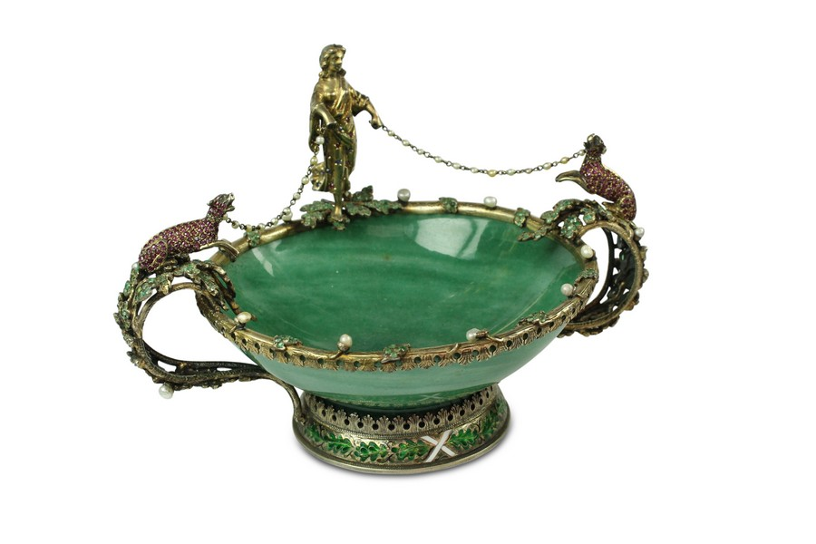 A Viennese tazza with jewelled and enamelled  mounts