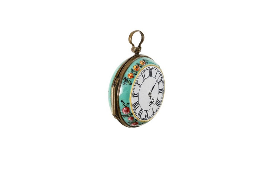 Rare enamel box in the form of a watch