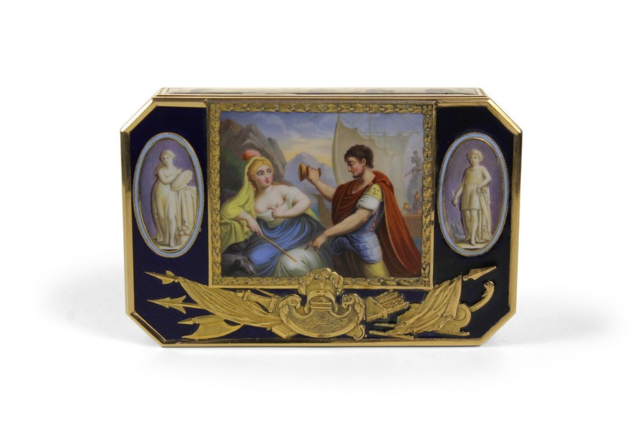 Of fine Swiss gold and enamel snuffbox Odysseus and Circe in 18 carat gold makers Mark S and D (Sene & Detailia )Genvea
