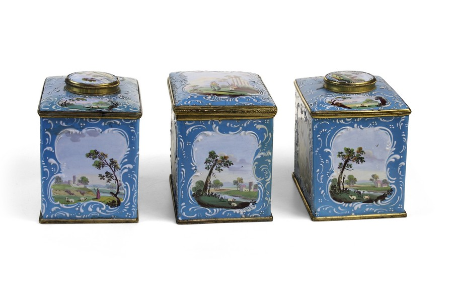 An Important Set Of Bilston Enamel Tea Caddies