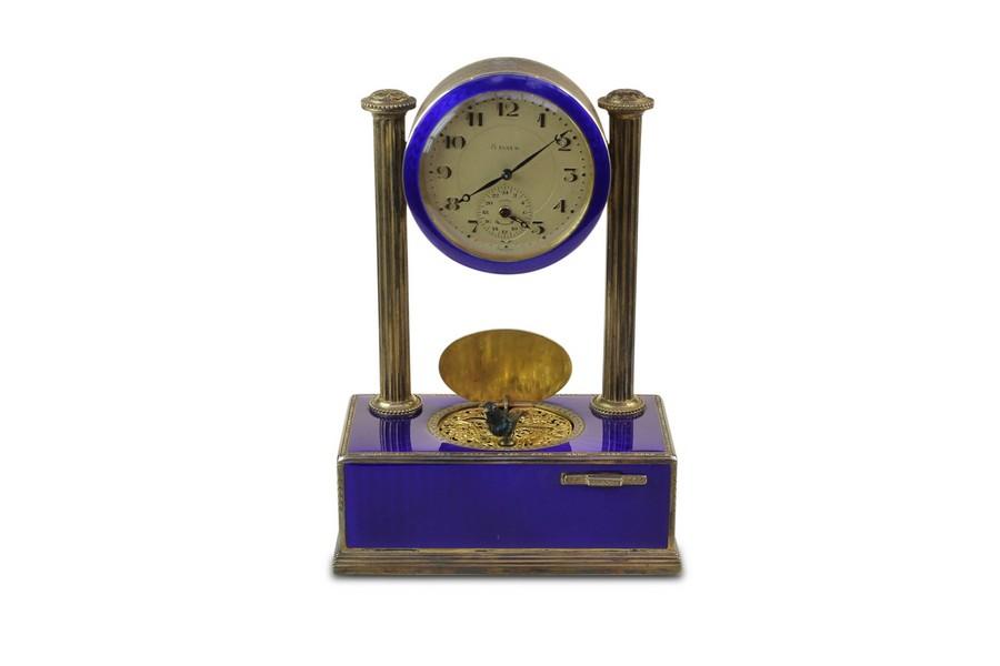 FIne Silver-Gilt and Enamel Art-Deco Singing Bird Alarm Clock by C.H Marguerat