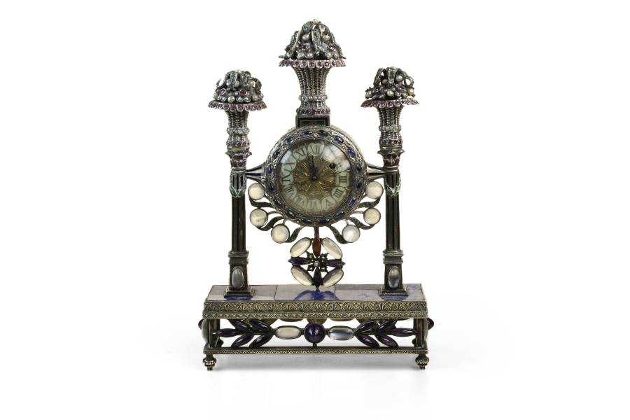 A Gem Set  silver and Enamel Clock