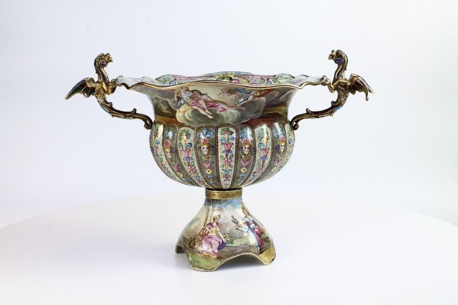 Fine Viennese Enamel Fluted Pedestal Bowl