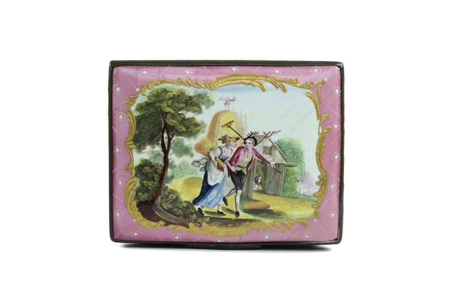 Bilston Enamel Snuff Box The Hay makers