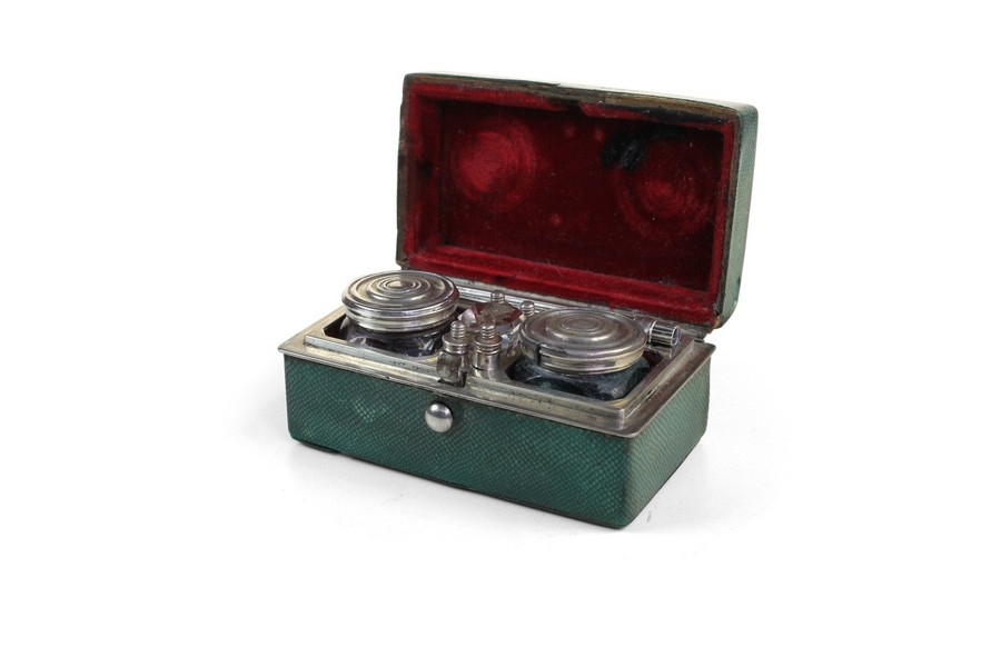 Shagreen and Silver  Traveling writing set