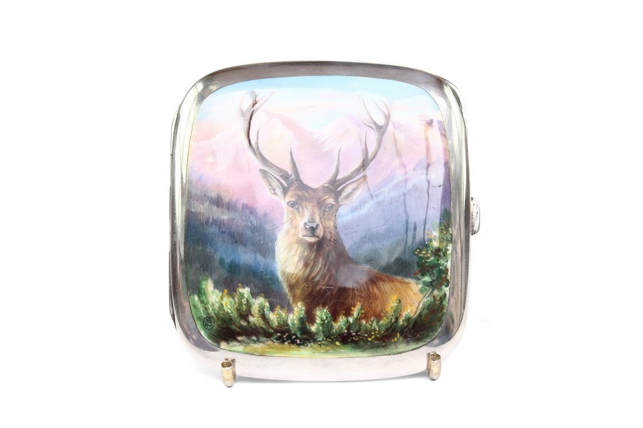 Silver and Enamel cigarette case depicting a stag