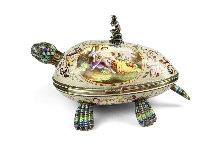 A late nineteenth century Viennese enamelled tortoise form hinged box.