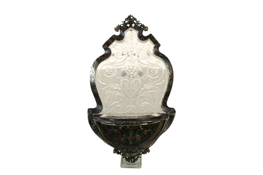 A Fine Viennese enamel and Rock Crystal Travelling hanging  devotional shelf
