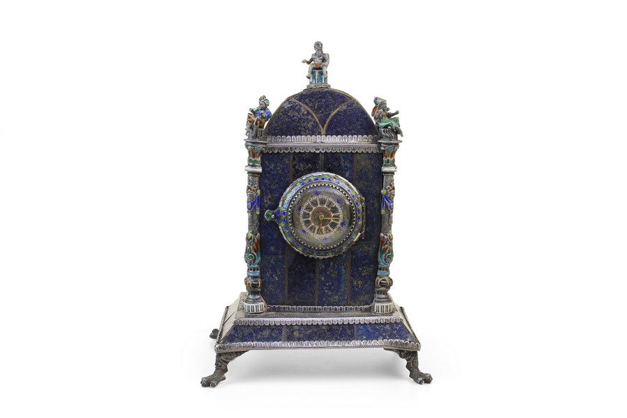 Silver Enamel and Lapis clock