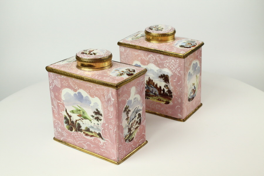Pair Of Bilston Tea Caddies