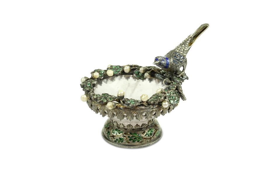 Viennese Gem set rose quartz silver and enamel  Bon Bon Dish