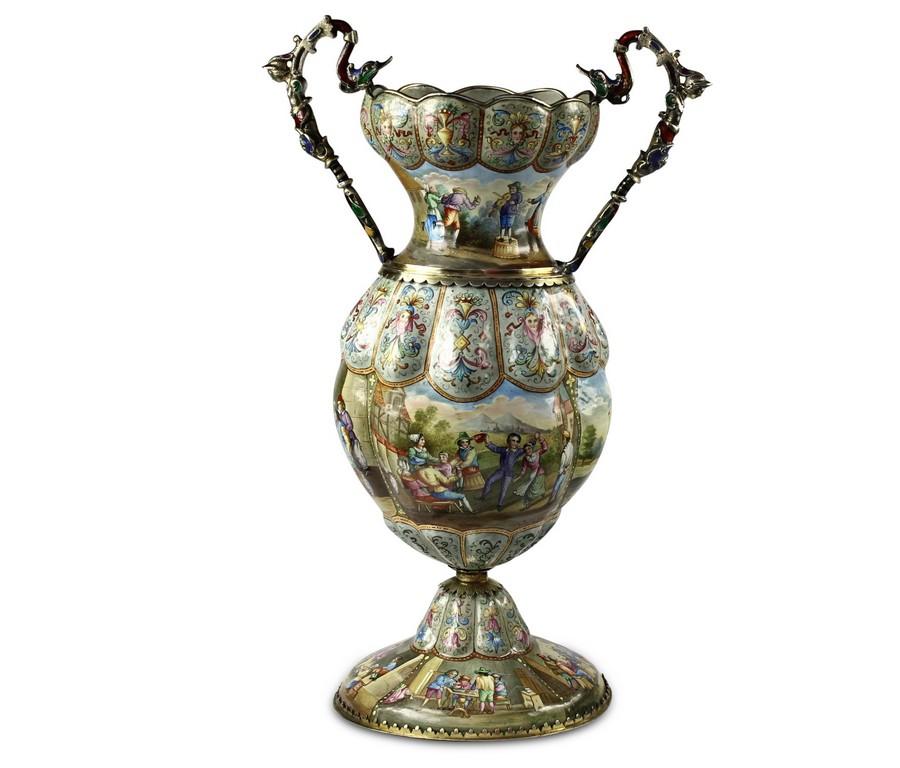 A fine pair of Viennese Enamel vase by Leopold Wieninger