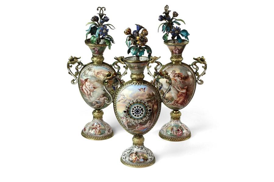 Rare Suite of Viennese Enamel Vases