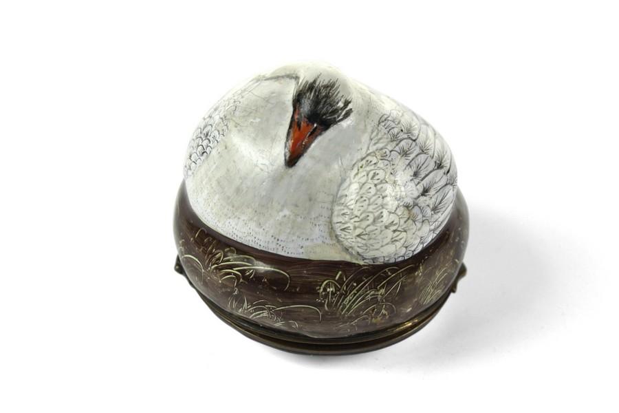 Extremely Rare Bilston Sleeping Swan Bonbonniere