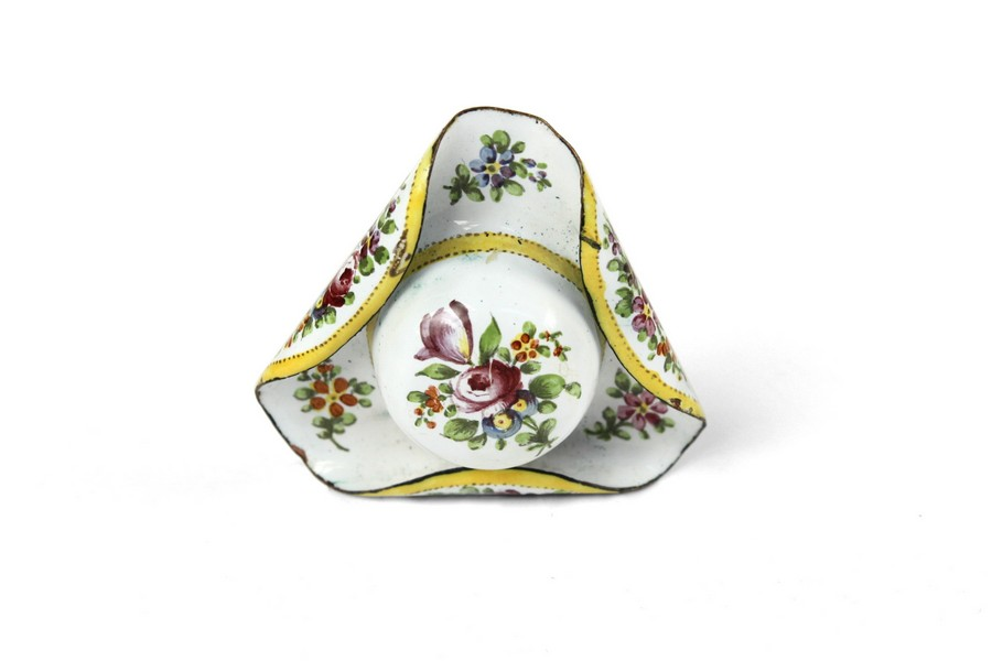 French Enamel Hat Shaped Patch Box