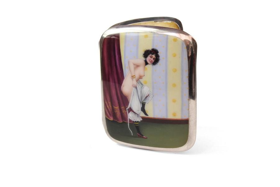 A Rare German Silver and Enamel Cigarette Case