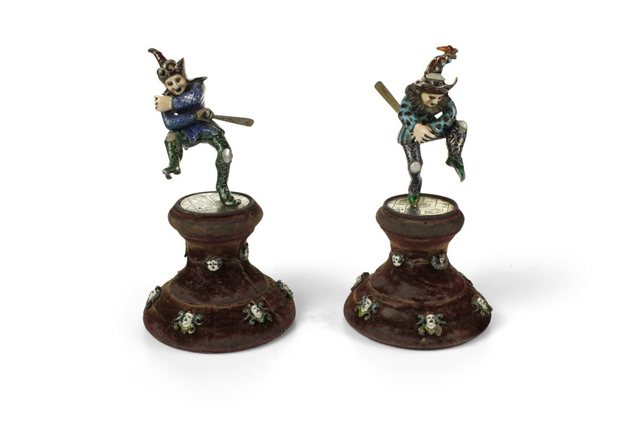 A Pair of late 19th Century Austrian Silver, Enamel and Mother of Pearl Court Jesters