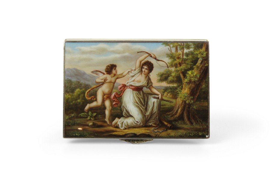 An Austrian Silver and Enamel Rectangular Box